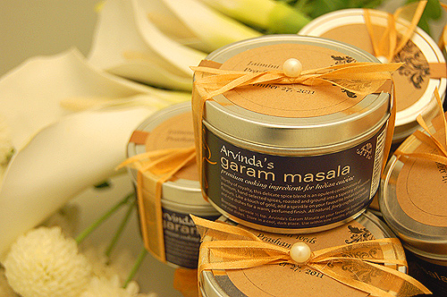 Arvinda's masala tins make for a unique and memorable wedding favour.