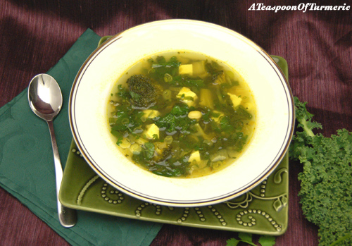 Kale & Broccoli in Curried Broth with Paneer