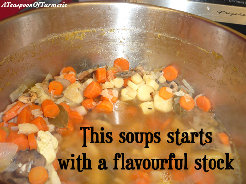 Although I normally don't use a stock for any of my Indian dishes, we used this flavourful stock as the base for the soup with the many seasonal vegetables we had on hand.