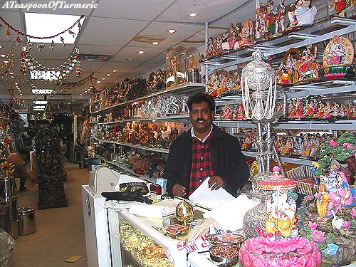 Owner, Gautam Mashetty in his shop in Toronto's Little India, Kitchen Queen.