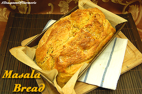 Homemade Masala Bread with turmeric