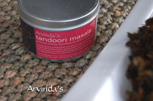 We used Arvinda's Tandoori Masala but try the recipe with Arvinda's Curry or Madras Masala for a change.